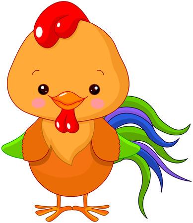 motley: Illustration of cute motley cockerel