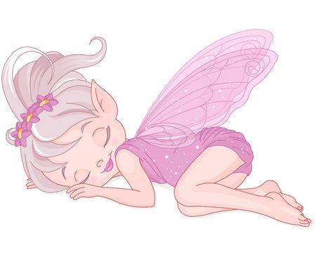 dětství: Ilustrace roztomilé růžové víla spí Ilustrace