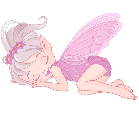 hadas caricatura: Ilustración de lindo de hadas de color rosa está durmiendo