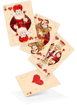 Illustration of Hearts plays cards