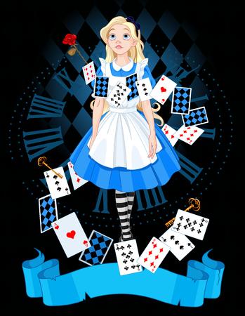 앨리스는 다이얼의 배경에 서있다