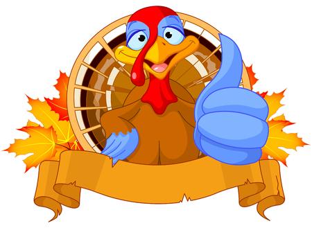 strut: Illustration of cute turkey shows thumb up