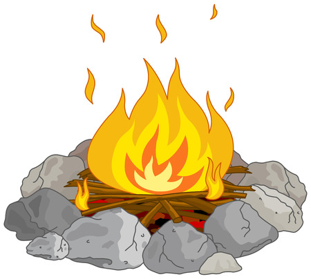Illustration of flame into fire pit Vector