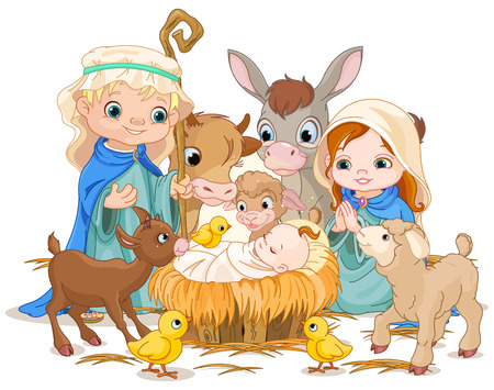 child praying: Christmas nativity scene with holy family Illustration