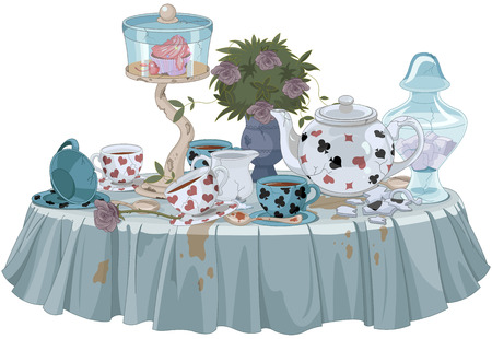 Wonderland Tea Party decorated table 일러스트