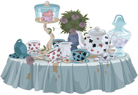 Wonderland Tea Party decorated table Vettoriali