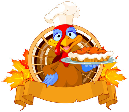 Thanksgiving turkey serving pumpkin pie Vector