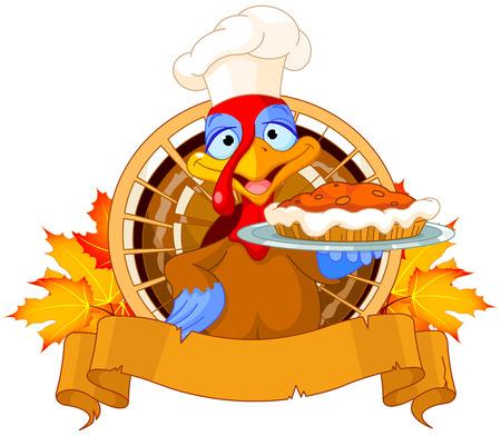 strut: Thanksgiving turkey serving pumpkin pie