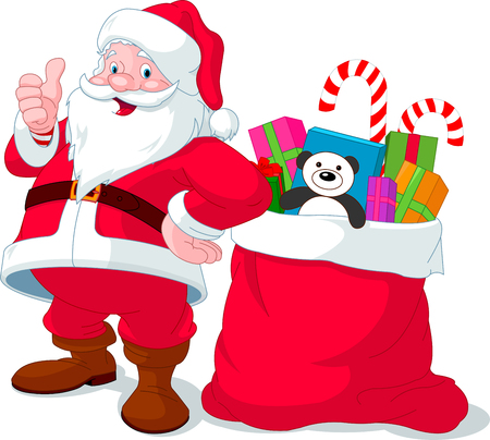 Santa Claus giving thumb up near sack full of gifts
