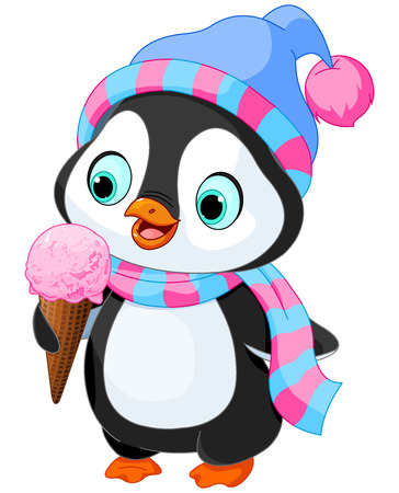 waffle ice cream: Cute penguin with hat and scarf eats an ice cream
