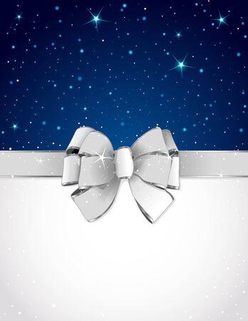 ruban blanc: Carte de voeux de No�l avec un arc et, copie, espace