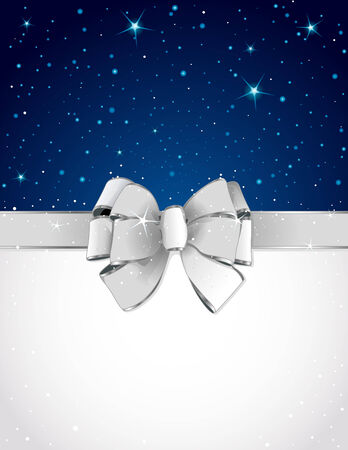 silver ribbon: Christmas greeting card with bow and copy space