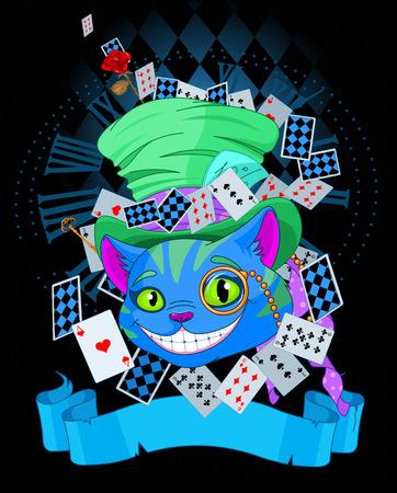 cheshire cat: Dise�o de Cheshire Cat en el sombrero de copa y mon�culo