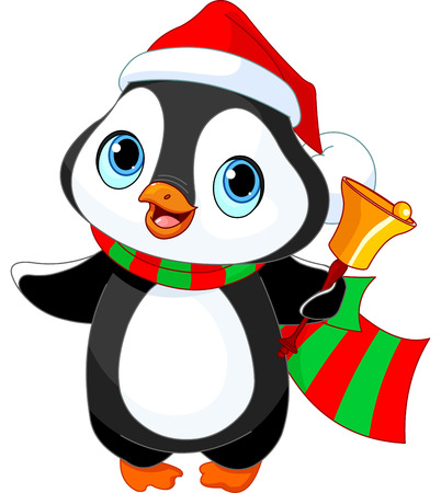 Cute Christmas penguin with jingle bell Çizim