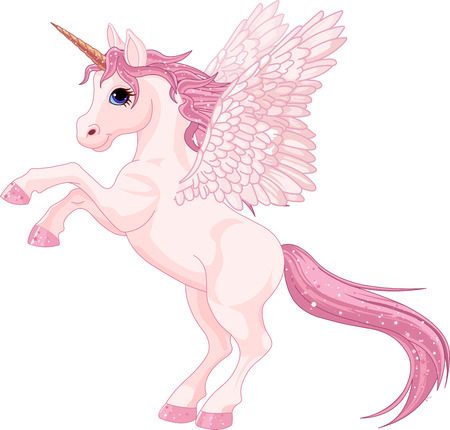 hadas caricatura: Ilustración de la hermosa rosa unicornio Pegasus