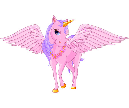 pegasus: Illustration of beautiful pink Unicorn Pegasus