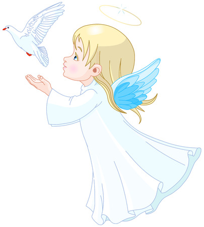 child praying: Beautiful angel releases doves in the sky