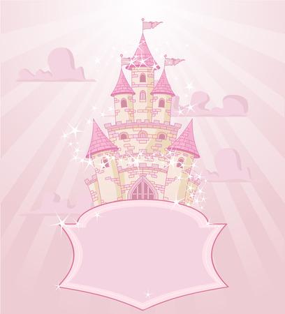 castillos de princesas: Ilustraci�n del castillo de cuento de hadas con el espacio para el texto Vectores