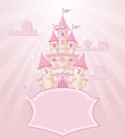 Illustration of fairytale castle with space for text Illustration