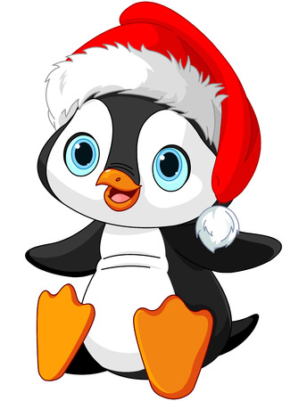 cartoon penguin: Illustration of Cute Christmas penguin