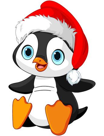 pinguinos navidenos: Ilustración de pingüino lindo de la Navidad