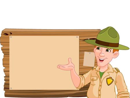 Ilustración de un guardabosques o guardaparques apuntando a un cartel de madera Ilustración de vector