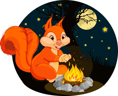 Illustration of funny squirrel warms his hands near a campfire Illustration
