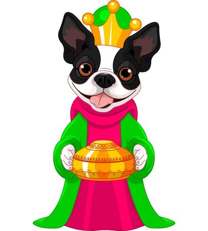caspar: Boston terrier, Biblical Magi, the wise men follow the Star of Bethlehem Illustration