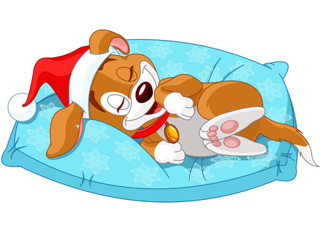 Cute Christmas doggy lies on the pillow Vector