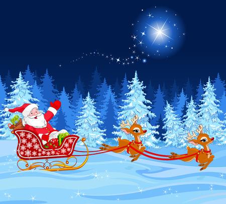 trineo: Ilustración de Papá Noel en su trineo