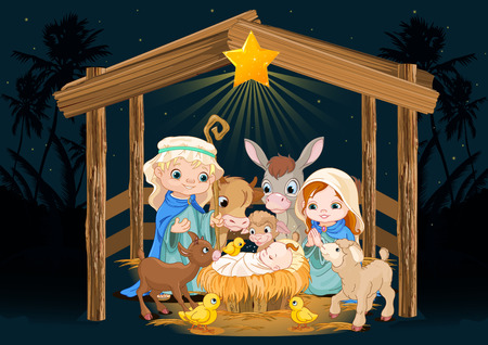 Christmas nativity scene with holy family Иллюстрация