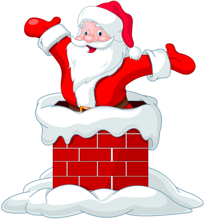 Happy Santa Claus jumping from chimney Stock Illustratie