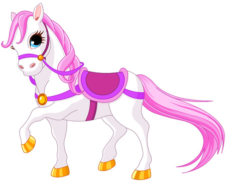 Very cute pink princess horse Illustration