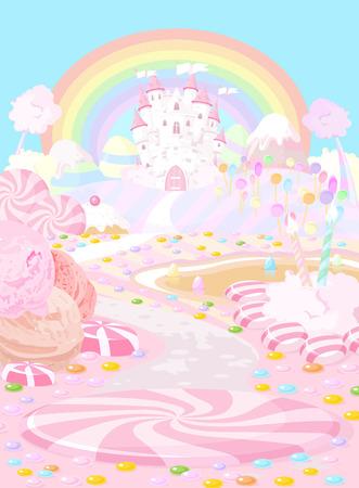 casita de dulces: Ilustración de color pastel un reino de hadas Vectores