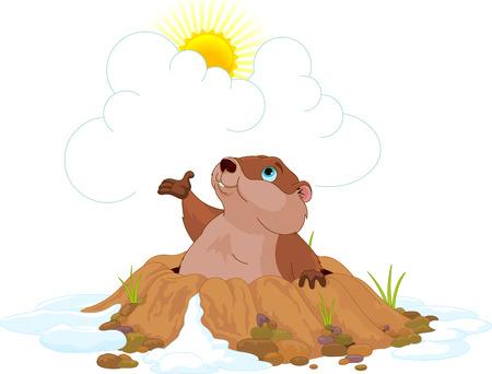 Illustration of very cute groundhog Vettoriali