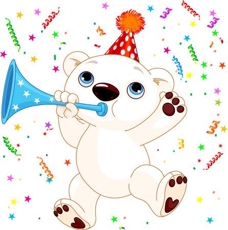 bugle: Illustration of cute polar bear celebrating