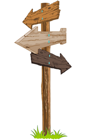Illustration of wooden signpost