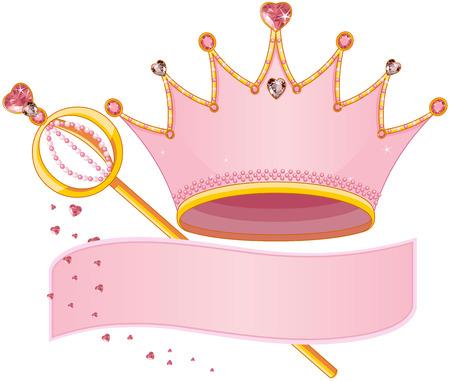 corona reina: Conjunto de Royal Regalia, con copia espacio Vectores
