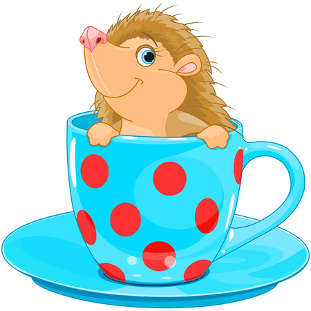 Cute little Hedgehog sits in the tea cup