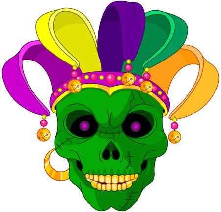 Illustration of Mardi Gras skull mask
