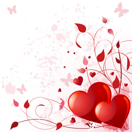 swirl background: Illustration of valentine day card with heard
