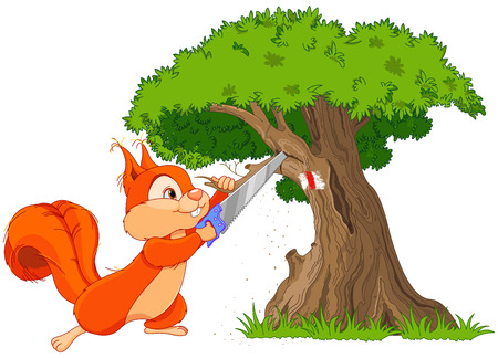 royalty free illustrations: Illustration of funny squirrel saws branch