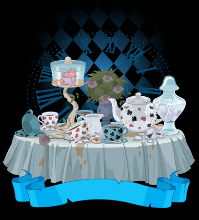 Wonderland Tea Party versierde tafel Stock Illustratie