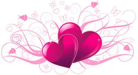 Illustration of valentine day card with heard Vector