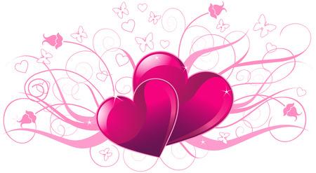 Illustrazione della scheda di giorno di San Valentino con udito Archivio Fotografico - 35369638