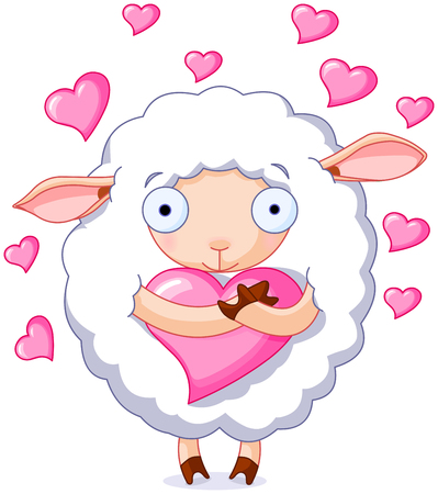 Illustration of very cute sheep holds a heart
