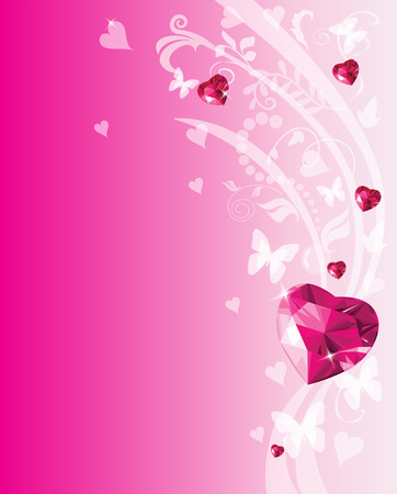 Shiny ruby love hearts design. Valentine place card Illustration
