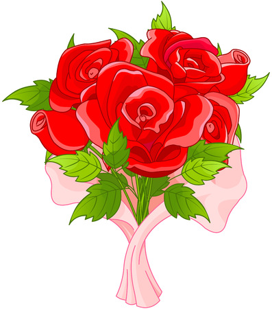 cartoon bouquet: Illustration of bouquet of roses