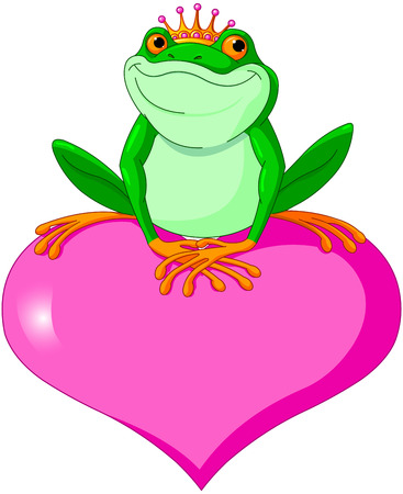 frog prince: Illustration of Frog Prince waiting to be kissed