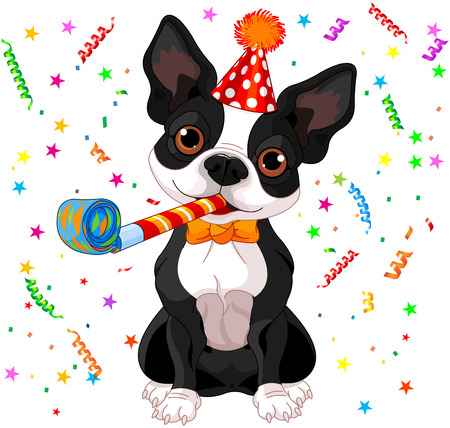 boston terrier: Illustration of cute Boston terrier celebrating